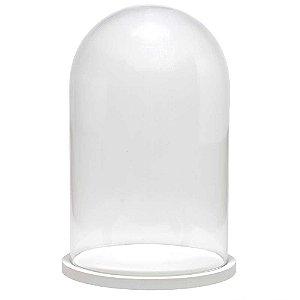 Redoma de vidro lisa com base de MDF branca - média