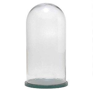 Redoma de vidro lisa com base de MDF verde metálica - grande