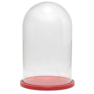 Redoma de vidro lisa com base de MDF vermelha - média