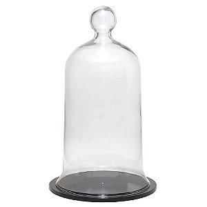 Redoma de vidro grande com base de MDF preta