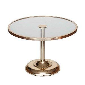 Boleira de vidro e metal dourada - Baixa