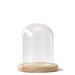 Redoma de vidro com base de madeira 10X13cm