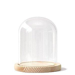 Redoma de vidro com base de madeira 12X15cm