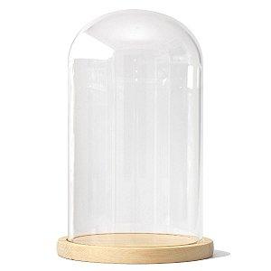 Redoma de vidro com base de madeira 15X26cm