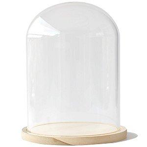 Redoma de vidro com base de madeira 20X28cm