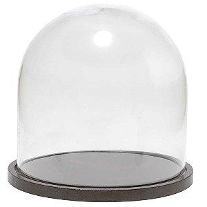 Redoma de vidro lisa com base de MDF bronze metálica - pequena