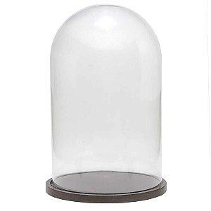 Redoma de vidro lisa com base de MDF bronze metálica - média