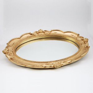 Bandeja oval dourada