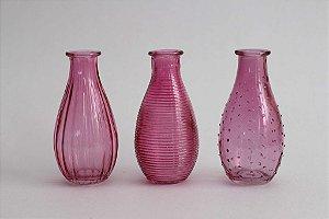 Trio de Vasos Vidro Rosa