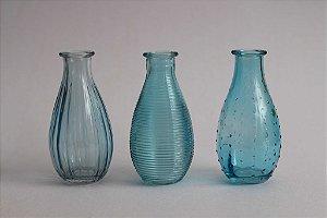 Trio de Vasos Vidro Azul