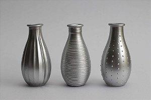 Trio de Vasos Vidro Prata
