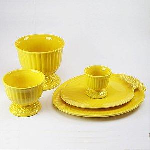 Trio de Cachepot + Dois Pratos Ovais Amarelo