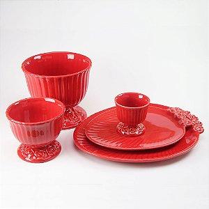 Trio de Cachepot + Dois Pratos Ovais Vermelho