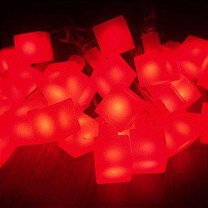 Cordão de Luz Led Cubo (110V) - Vermelho