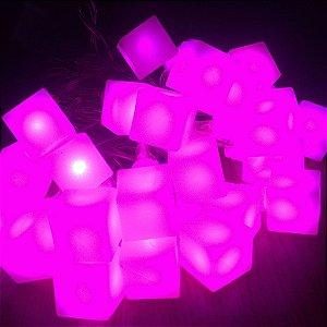Cordão de Luz Led Cubo (110V) - Rosa