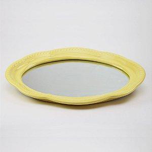 Bandeja de louça com espelho amarela