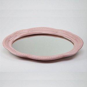 Bandeja de louça com espelho rosa
