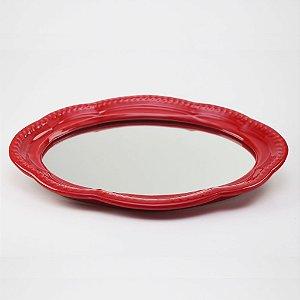 Bandeja de louça com espelho vermelha