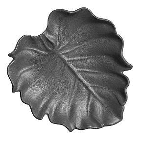 Prato folha preto fosco 27x28cm