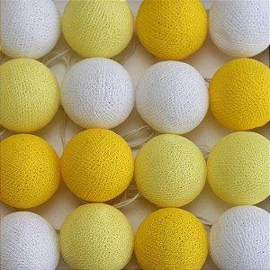 Cordão de Luz Cotton Amarelo e Branco