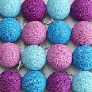 Cordão de Luz Cotton Azul, Lilás e Roxo