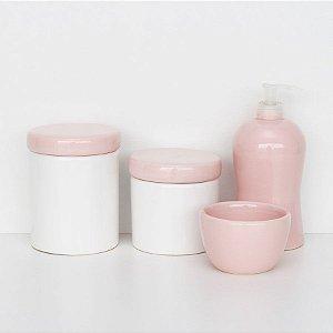 kit higiene de louça - Branco com tampa rosa