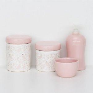 Kit Higiene de louça - Passarinhos rosa