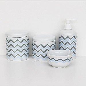 kit higiene de porcelana - Chevron Azul e Cinza com tampa branca