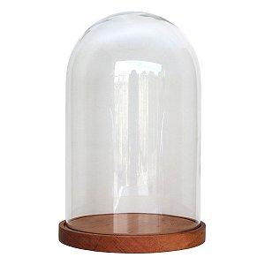 Redoma de vidro lisa com base de madeira Muiracatiara - média