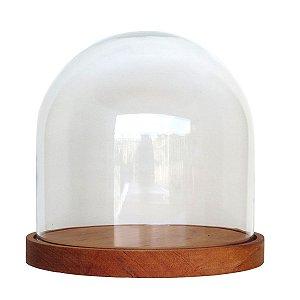 Redoma de Vidro lisa com base de madeira Muiracatiara - pequena