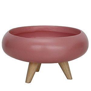 Cachepot de cerâmica com pés de madeira - rosa