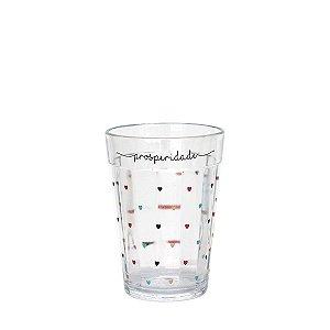 Copo de vidro com corações - Prosperidade - tamanho P