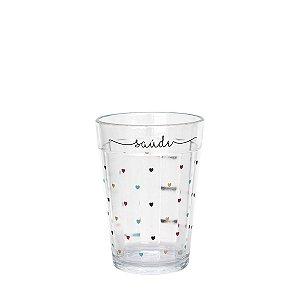 Copo de vidro com corações - Saúde - tamanho P