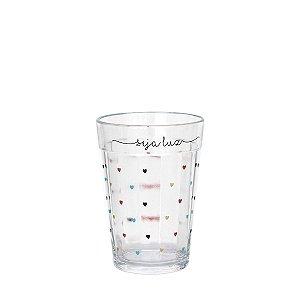 Copo de vidro com corações - Seja Luz - tamanho P