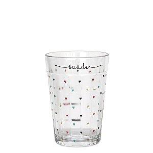 Copo de vidro com corações - Saúde - tamanho M