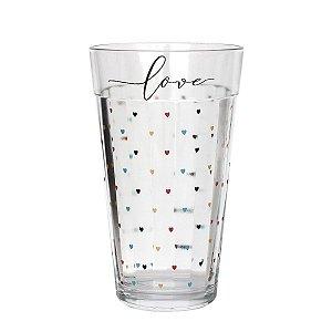 Copo de vidro com corações - Love - tamanho G