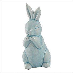 Coelho de Porcelana em pé - Azul