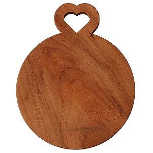 Tábua de madeira redonda com alça de coração