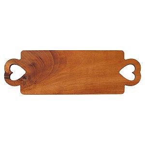 Tábua de madeira retangular com alças de coração