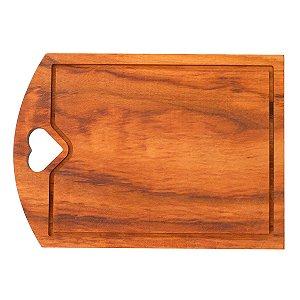 Tábua de madeira retangular com recorte de coração