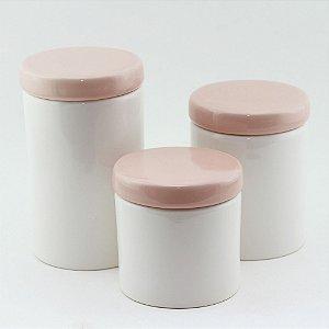 Kit Higiene Rosa e Branco - 3 peças