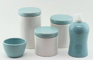 Kit Higiene Azul e Branco - 5 peças