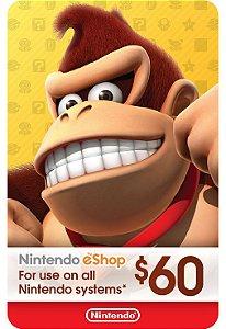 Cartão Nintendo eShop $60 Dólares