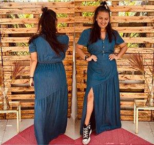 Vestido Abigail longo com decote V tecido Tencel    (tecido que imita o jeans)