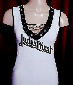 Blusinha com amarração lateral Judas Priest P/M