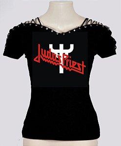 Blusinha com amarração nos ombros Judas Priest