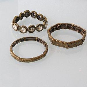 Trio de pulseiras ouro vintage
