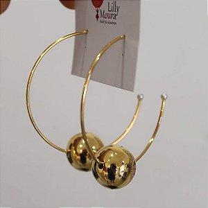 Argola esfera dourada