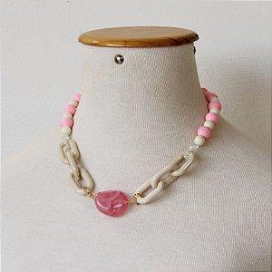Maxi colar pedra com elos rosa