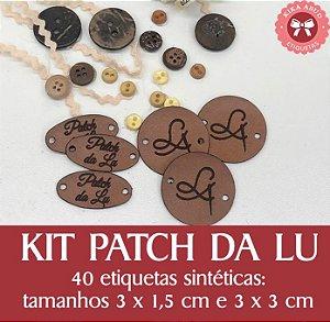 KIT PATCH DA LU: 40 etiquetas sintéticas em 2 tamanhos